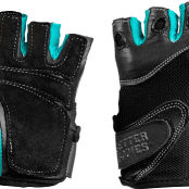 BETTER BODIES WOMENS FITNESS GLOVES FRONT AND BACK AQUA