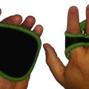 Green Camo Gripad Workout Gloves on Hands