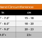 Valeo Performance Lifting Gloves Sizing Chart