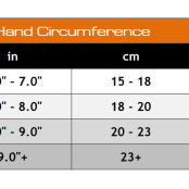 Valeo Performance Lifting Gloves Sizing Chart