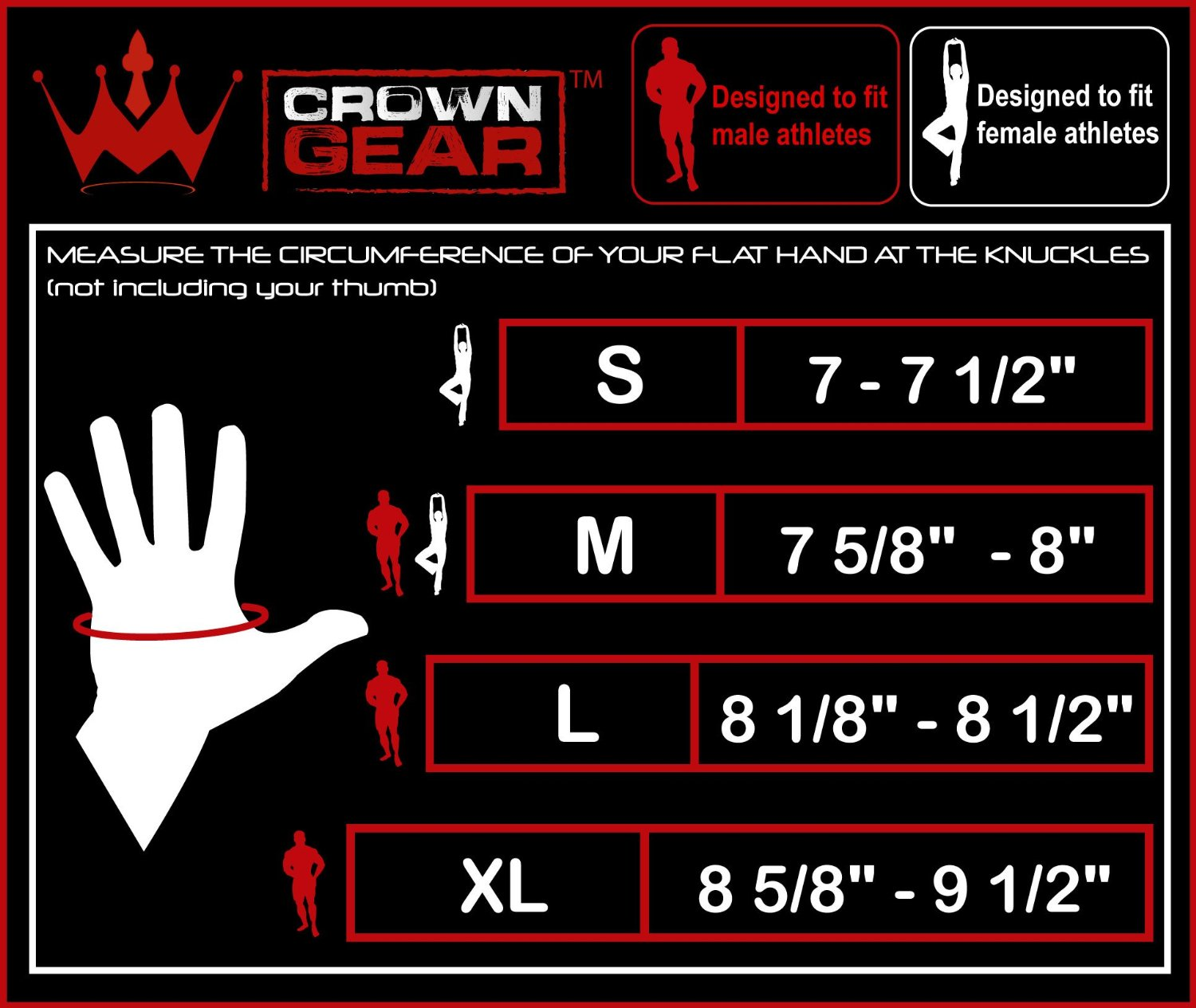 Workout Gloves Size Chart: Crown Gear Dominator Weight Lifting Gloves