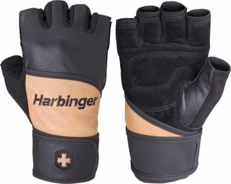 Harbinger 130 Weight Lifting Gloves w/ Wrist Support Front and Back