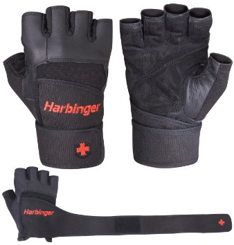 Harbinger Pro Wristwrap Gloves Weight Lifting Gloves